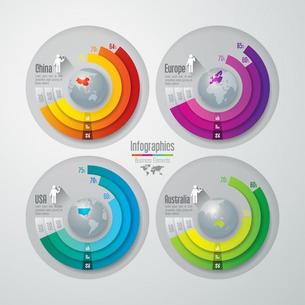 Elementi grafici colorati per cina, stati uniti, europa e australia