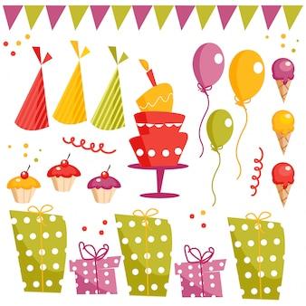 Elementi grafici di festa di compleanno