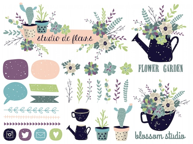 Elementi grafici primaverili con motivi floreali.