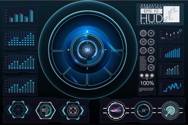 Elementi hud, grafico. elementi di visualizzazione head-up