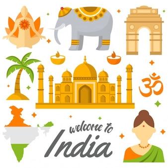 Elementi india colorati
