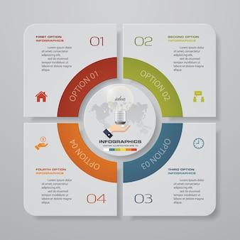 Elementi infografica grafico a 4 passaggi