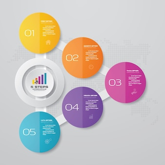 Elementi infografica grafico a 5 passaggi. illustrazione vettoriale