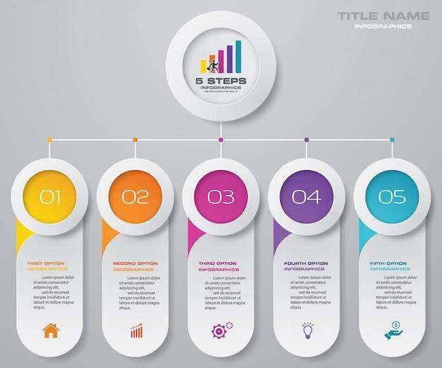 Elementi infografica grafico a 5 passaggi.