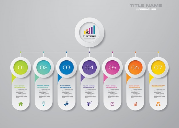 Elementi infografica grafico a 7 passaggi