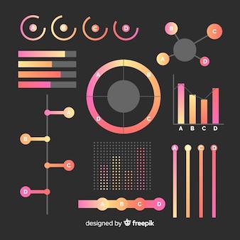 Elementi infografica piatto gradiente