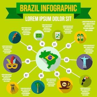 Elementi infographic del brasile in stile piano per qualsiasi design