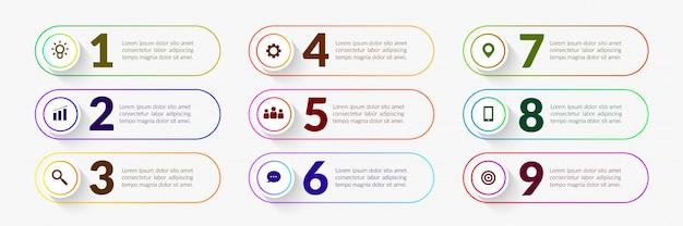 Elementi infographic del flusso di lavoro variopinto, processo aziendale con il segmento di più punti