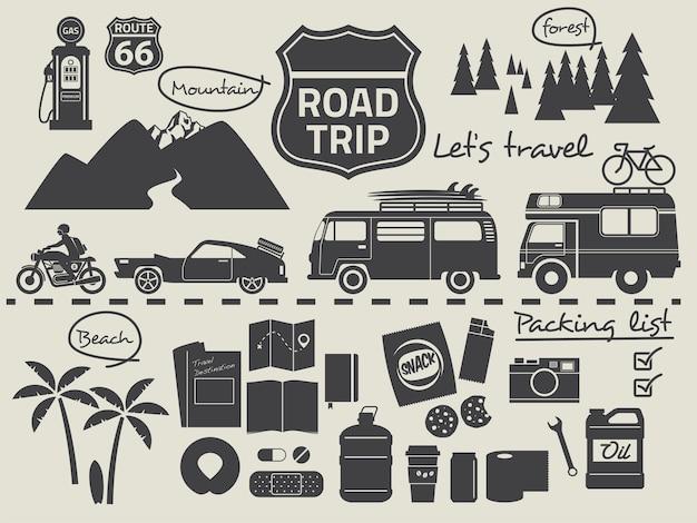 Elementi infographic della lista di imballaggio di viaggio stradale