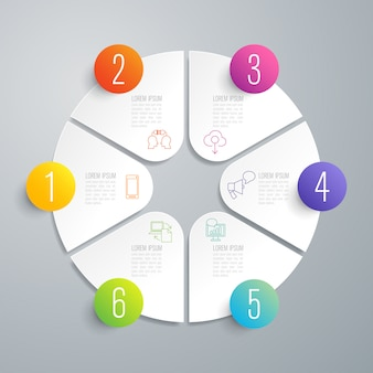 Elementi infographic di 6 passaggi per la presentazione
