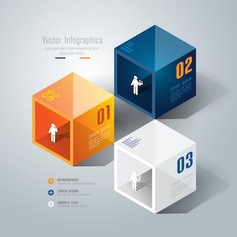 Elementi infographic di affari di 3 punti per la presentazione