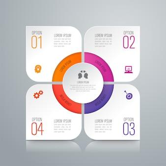 Elementi infographic di affari di 4 punti per la presentazione
