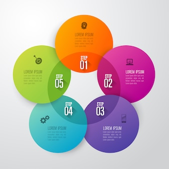 Elementi infographic di affari di 5 punti per la presentazione