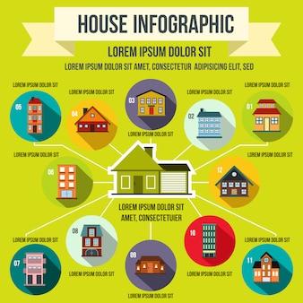 Elementi infographic di casa in stile piano per qualsiasi design