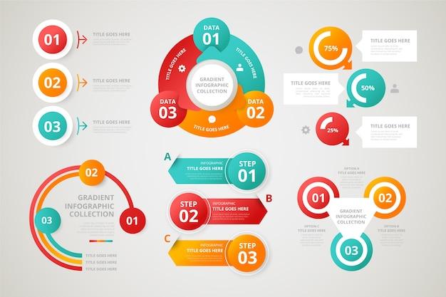 Elementi infographic di gradiente