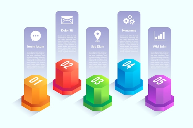 Elementi infographic di progettazione isometrica