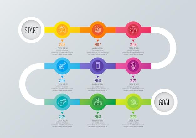 Elementi infographic di timeline del pianificatore di anno