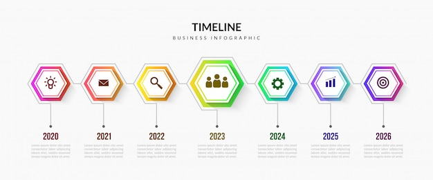 Elementi infographic di timeline di affari, grafico di processo colorato con segmenti modificabili