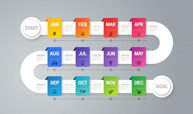 Elementi infographic di timeline di piano anno