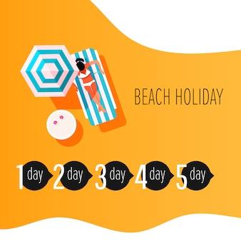 Elementi infographic di vettore di tempo per prendere il sole. infografica trattamento scottature. ragazza con pelle abbronzata.