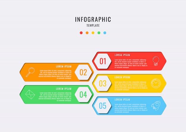 Elementi infographic esagonali con cinque passaggi, opzioni, parti o processi con caselle di testo e icone di linea di marketing.
