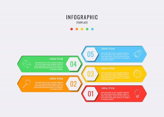Elementi infographic esagonali con cinque passaggi, opzioni, parti o processo