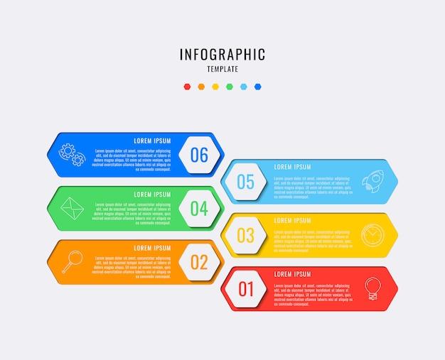 Elementi infographic esagonali con sei passaggi, opzioni, parti o processi con caselle di testo