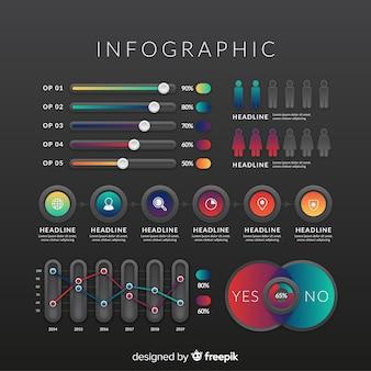 Elementi infographic gradiente con sfondo scuro