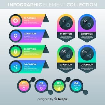 Elementi infographic gradiente