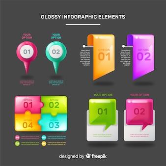 Elementi infographic realistici di plastica lucida