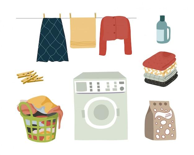 Elementi isolati stabiliti della lavanderia su bianco