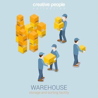 Elementi isometrici del servizio di consegna di stoccaggio del magazzino. motore del caricatore del corriere che funziona con l'illustrazione delle scatole delle merci.