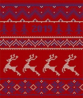 Elementi lavorati a maglia e bordi per natale