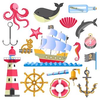 Elementi marini tradizionali di tema marino su bianco