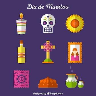 Elementi messicani tradizionali con design piatto