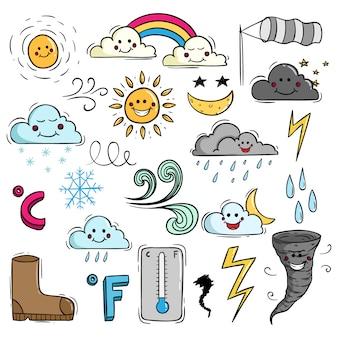Elementi meteo carino in stile doodle
