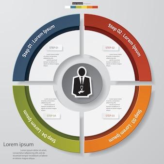 Elementi moderni di infographics del grafico a torta di punti di 4 punti