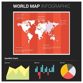 Elementi moderni di informazioni grafiche mappa del mondo e tipografia