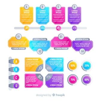 Elementi moderni infografica colorate