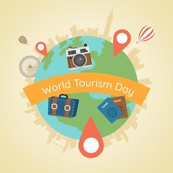Elementi mondiali e turistici con design piatto