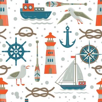 Elementi nautici background pattern pattern