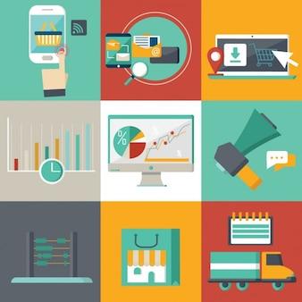 Elementi negozio piatta web