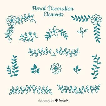 Elementi ornamentali floreali disegnati a mano