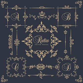 Elementi ornamentali in stile vintage