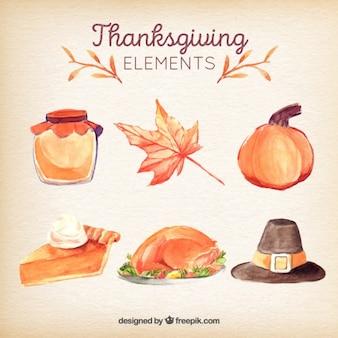 Elementi pacchetto di tradizionale acquerello ringraziamento