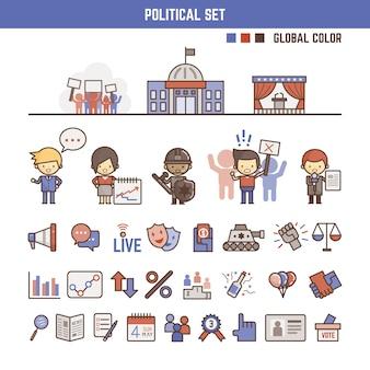 Elementi politici infografici per bambini
