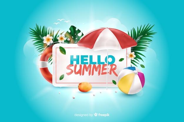 Elementi realistici di estate che circondano la priorità bassa del segno