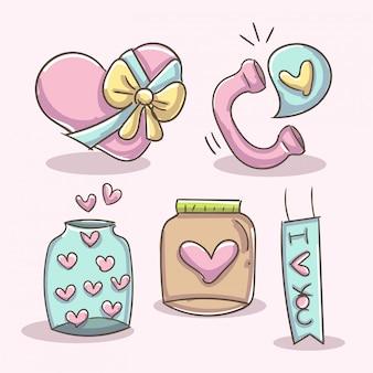 Elementi romantici con cuore telefono, vaso e scatola.