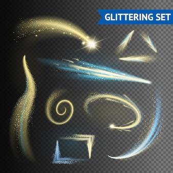 Elementi scintillanti scintillanti d'oro isolati su sfondo trasparente