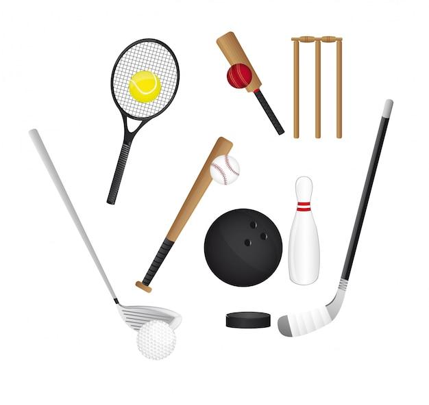 Elementi sportivi isolati su sfondo bianco vettoriale